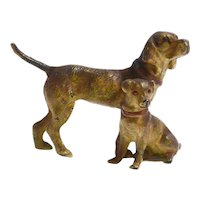 Antique Cold-Painted Bronze Pair of Dogs Figurine