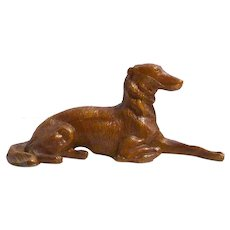 Cold Painted Reclining Borzoi Dog Figurine