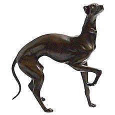 Bronze Whippet Greyhound Dog Figurine