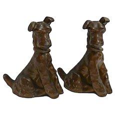 Vintage Fox Terrier Puppy Bookends