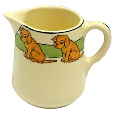 Vintage Roseville Art Pottery Juvenile Pitcher with Dogs c. 1910 - pre-1924
