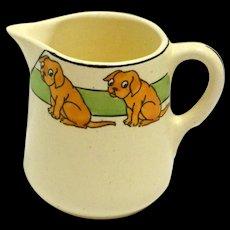 Vintage Roseville Art Pottery Juvenile Pitcher with Dogs c. 1910 - pre-1924