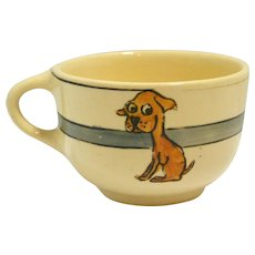 Vintage Roseville Art Pottery Juvenile Cup with Dogs c. 1927-1935
