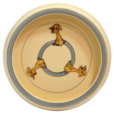 Vintage Roseville Art Pottery Juvenile Dish with Dogs c. 1923-1926