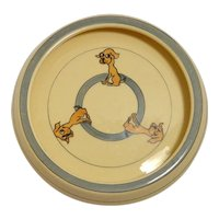 Vintage Roseville Art Pottery Child's Dish with Dogs c. 1923-1926