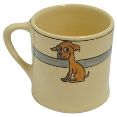 Vintage Roseville Art Pottery Juvenile Mug with Dog c. 1924- 1926