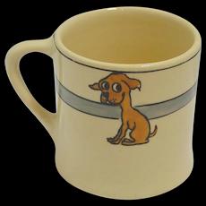 Vintage Roseville Art Pottery Juvenile Mug with Dog c. 1924- 1926