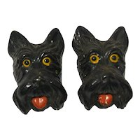 Vintage Scottish Terrier Dog Chalkware Plaques c.1940's