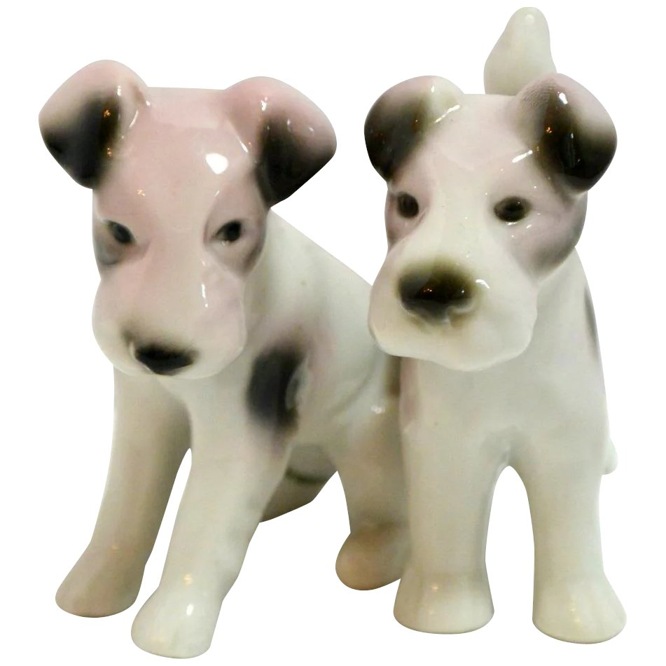 Wire-Haired Fox Terrier Dogs Pair Porcelain Figurines Germany : A ...