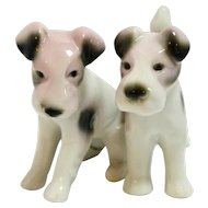 Wire-Haired Fox Terrier Dogs Pair Porcelain Figurines Germany c.1909-1936