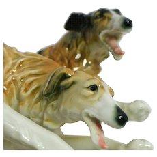 Rare Vintage Karl Ens Borzoi Russian Wolfhound Dog Pair c. 1919 - 1930