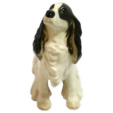 Porcelain Springer Spaniel Dog Figurine Russian Lomonosov c.1990's