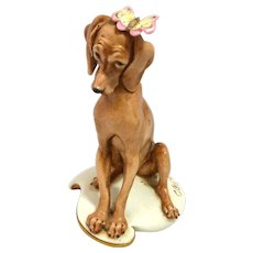 Capodimonte Italian Porcelain Dog with Butterfly