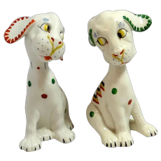 "Lavin & Lauer  Art Deco Puppy Pair ""Flirting"" Germany c.1930's"