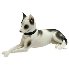 Porcelain Reclining Rat Terrier Figurine