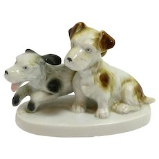 Porcelain Terrier Puppy Pair Germany C. Scheidig c.1901 - 1960's