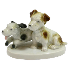 Porcelain Terrier Puppy Pair Germany C. Scheidig c.1901 - 1960's