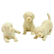 Lenox Labrador Retriever Puppies Trio Fine China with Gold Accents