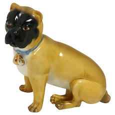 Antique German Dresden Pug Dog Figurine c.1880