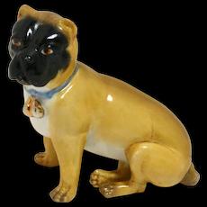 Antique German Dresden Pug Dog Figurine c.1880