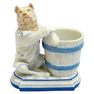 Unique German Porcelain Match Holder with Figural Dog c, 1887-1905