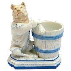 Unique German Porcelain Match Holder with Figural Dog c, 1887-1905