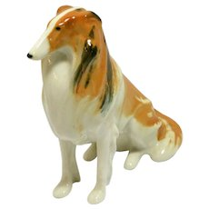 Vintage Lomonosov Porcelain Collie Dog Figurine c. 1970's
