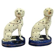 Antique English Staffordshire Porcelain Dalmatian Dog Pair c. early 1900's
