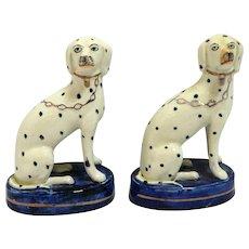 Antique English Staffordshire Porcelain Dalmatian Dog Pair c. early 1900's