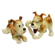 Occupied Japan Whimsical Puppy Pair Figurines c.1945 - 1952