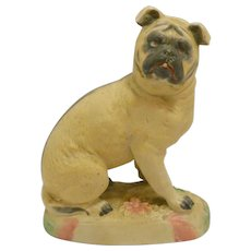 Antique Bisque Pug Dog Figurine Germany c.1870