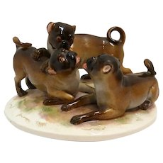 Antique Meissen Trio of Pug Dogs Porcelain Figural Group c. 1860 - 1924