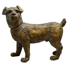 Austrian Terracotta Large Standing Terrier Dog with Glass Eyes c.1890 - 1990