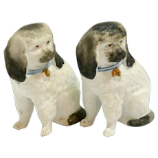 Staffordshire Bisque Seated Dog Pair c.mid-1800's