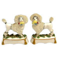Staffordshire Porcelain Poodles with Birds Pair c.1880's - 1920's