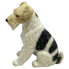 Vintage Porcelain Wire Haired Fox Terrier Dog
