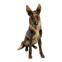 Wien Keramos German Shepherd / Alsatian Dog Austria c. 1940's - 1950's