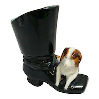 Antique Dresden Dog With Boot Matchstick Holder c. 1900 - 1940