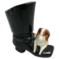 Antique Dresden Dog With Boot Matchstick Holder c. 1900 - 1940