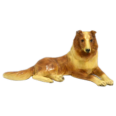 Vintage Mortens Studio Reclining Collie Dog c. 1930's - 1940's
