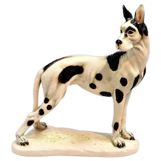 1940s Cacciapuoti Harlequin Dane Figurine Signed