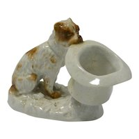 Dresden Porcelain Match Holder/Striker Dog with Top Hat c. early 1900's