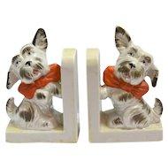 Vintage Ceramic Scottie Dog Bookends Japan c.1920's-1945
