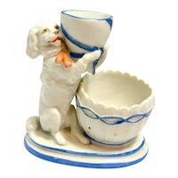 German Porcelain Match Holder and Striker with Figural Dog c, early 1900's
