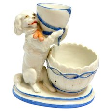 Unique German Porcelain Candle and Match Holder and Striker with Figural Dog c, early 1900's