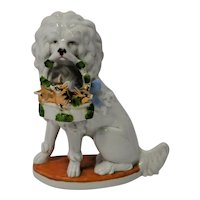 Porcelain Poodle Dog With Basket of Piglets