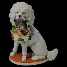 Porcelain Poodle Dog With Basket of Piglets