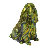Hungarian Zsolnay Eosin Porcelain Spaniel Dog Figurine c.1950's