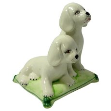 Italian Hand Painted Porcelain Puppy Pair on Cushion