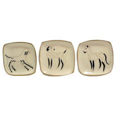 Mid-Century Modern Three Dogs Trinket Dish Set c. 1950's - early 1960's